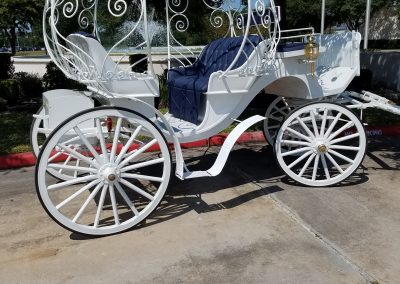 White Cinderella Carriage with Houston Carriage